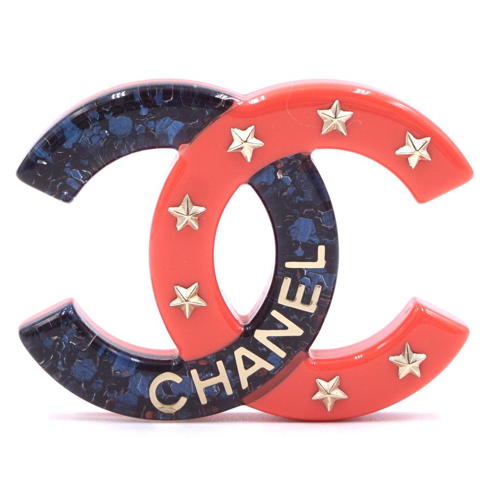 Chanel Blue Pink CC Glitter Star Brooch