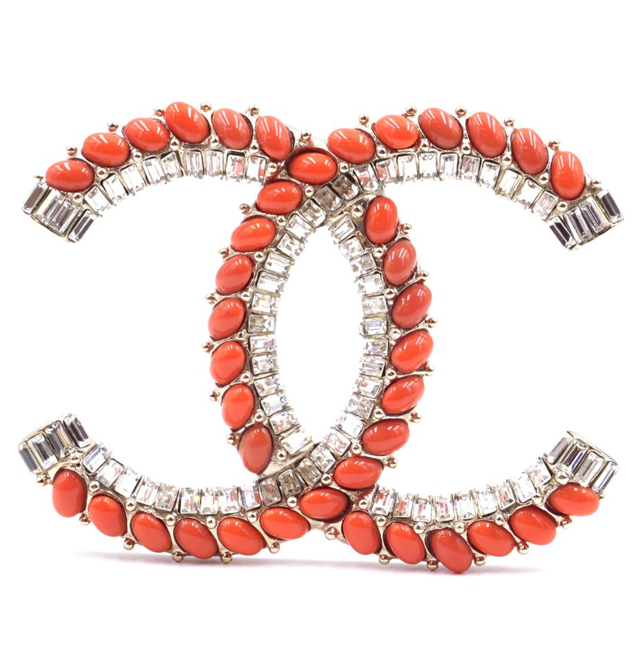 Chanel Crystals Orange CC Gripoix Hardware Brooch