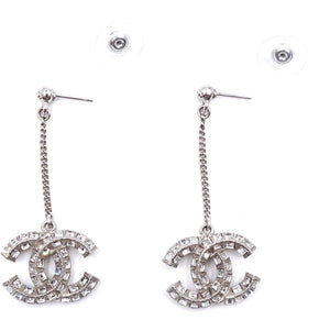 Chanel Silver Crystals CC Dangle Chain Earrings