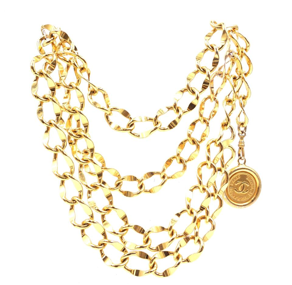 Chanel Gold CC Wide Medallion Charm Necklace