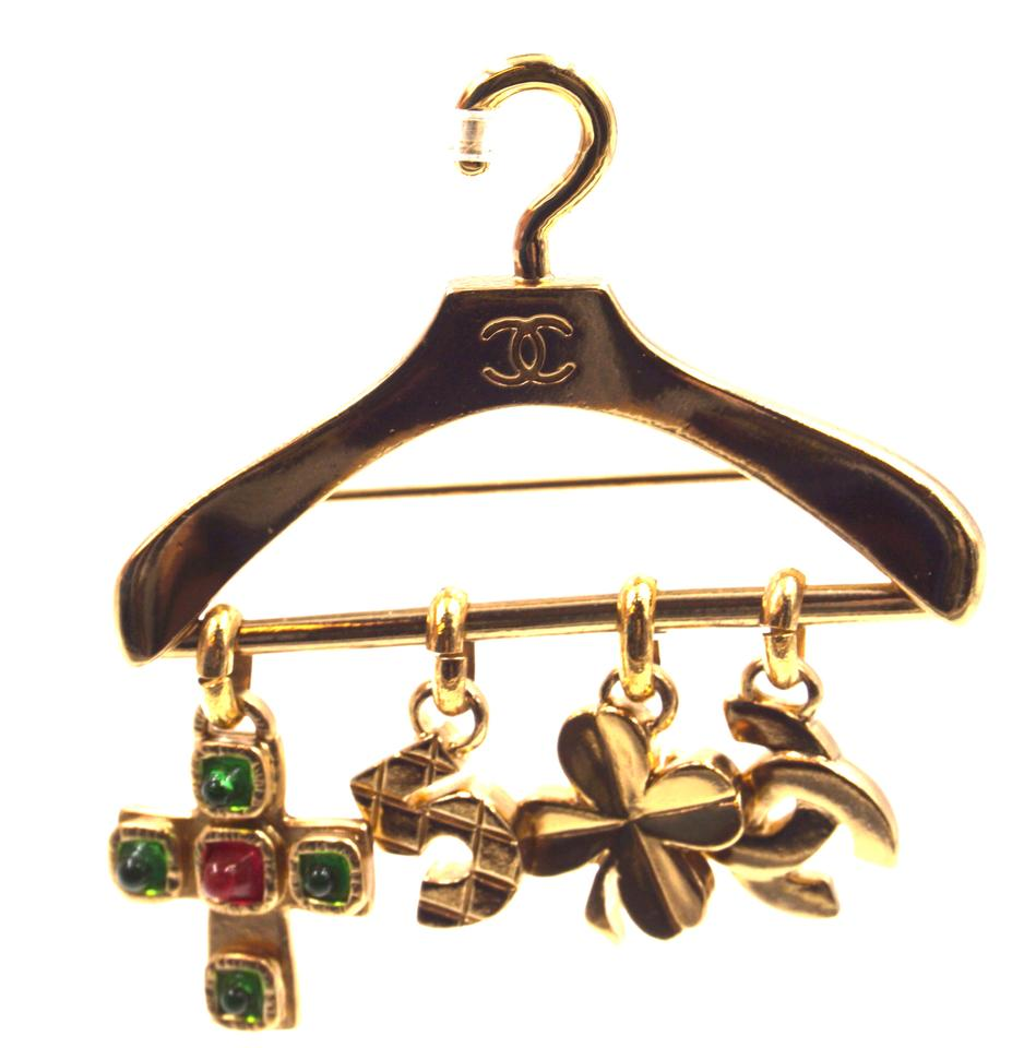 Chanel CC Hanger Charms Gripoix Gold Brooch
