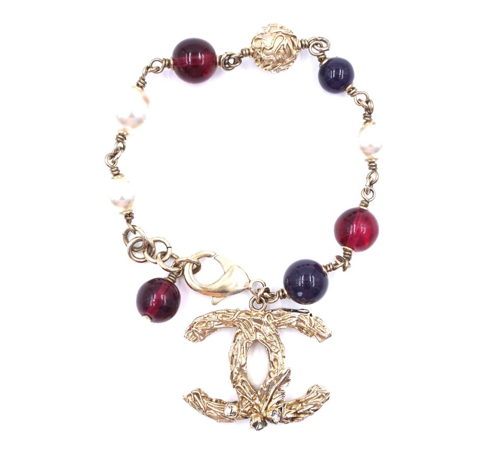 Chanel Gold Multicolors CC Pearls Beads Bracelet
