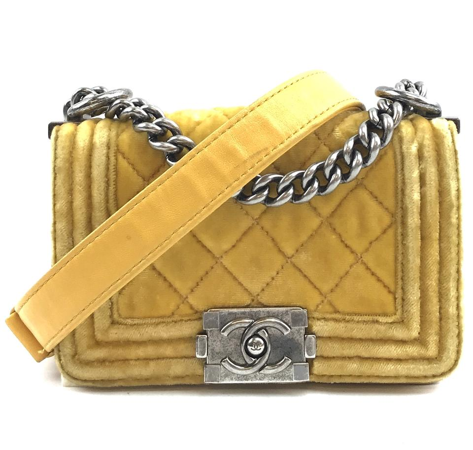 Chanel Boy Mini CC Yellow Velvet