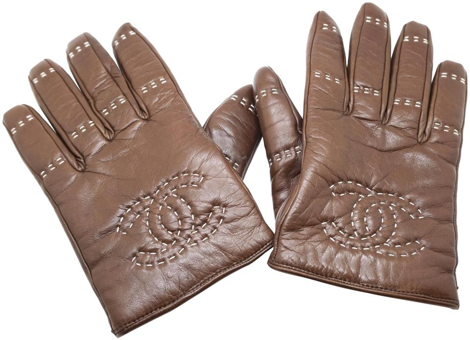 Chanel Brown CC Leather Gloves Size 8