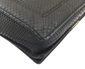 Chanel Classic Messenger Boy Large Black Python Leather
