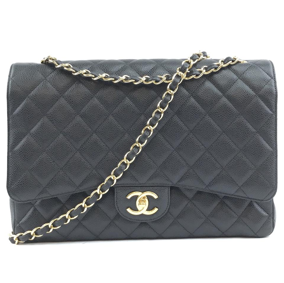 Chanel Maxi Classic Flap Large Black Caviar Leather
