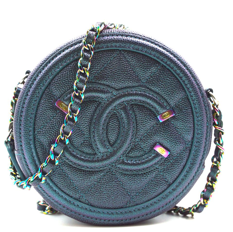 Chanel Round Filigree Mini Iridescent Caviar Leather