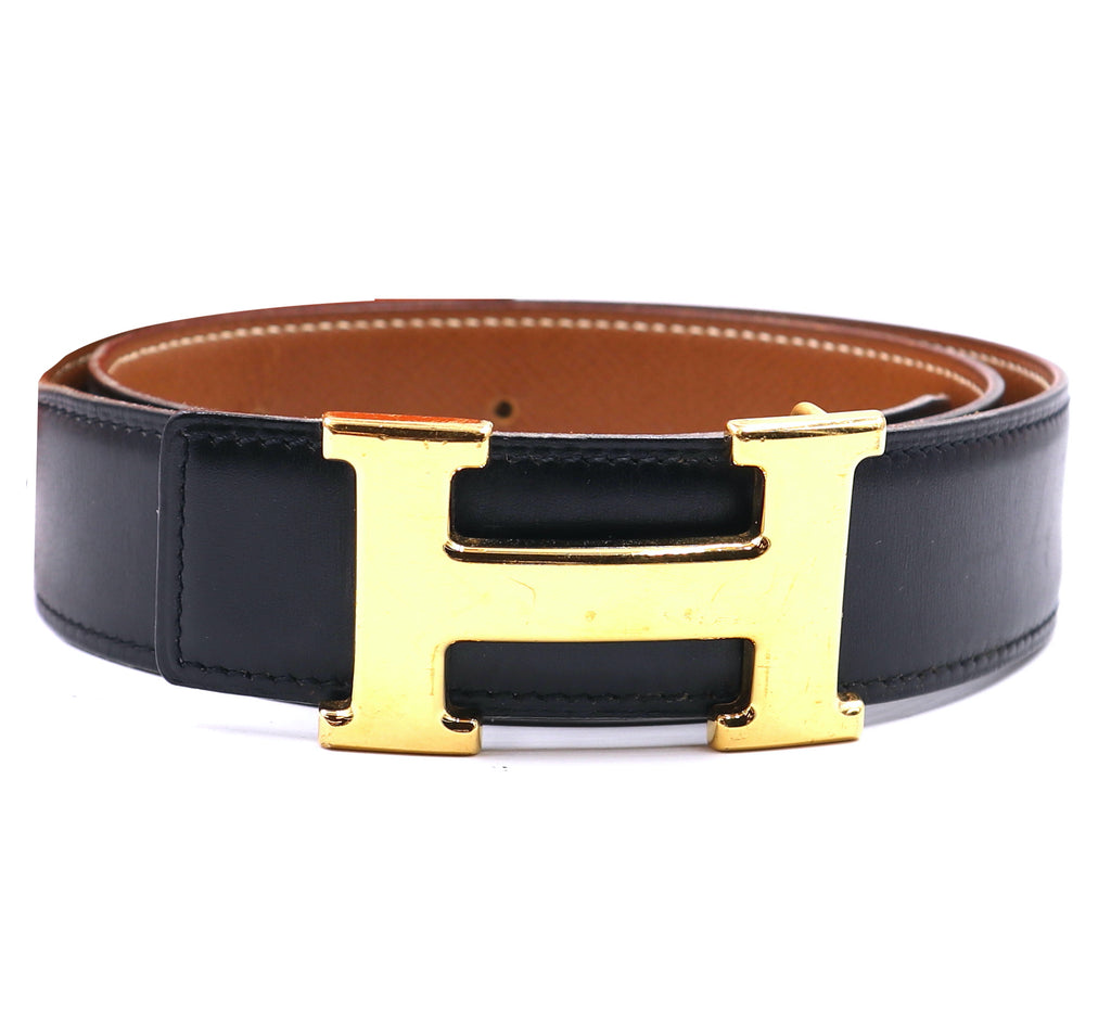 Hermès 32mm Classic H Reversible Leather Belt Size 76