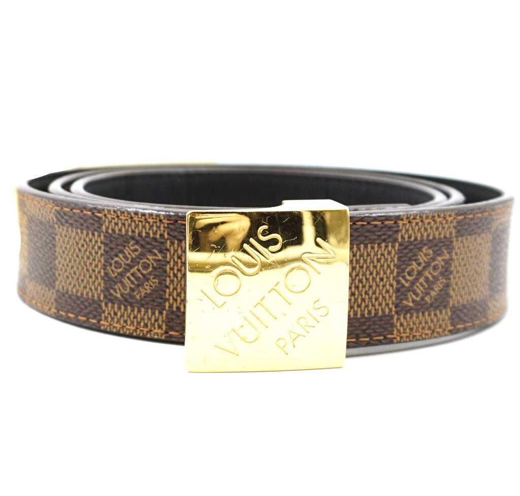 Louis Vuitton Damier Ebene Gold Buckle Leather Belt