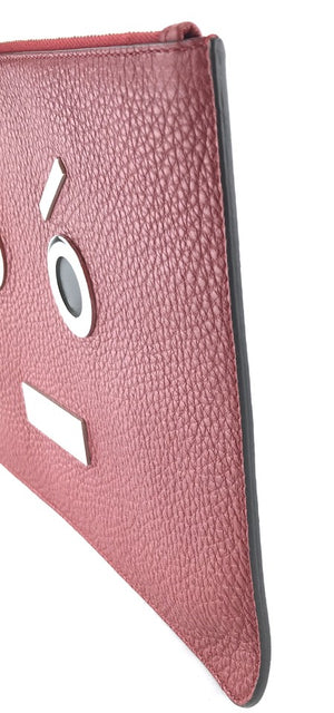 Fendi Monster Face Portfolio Red Leather
