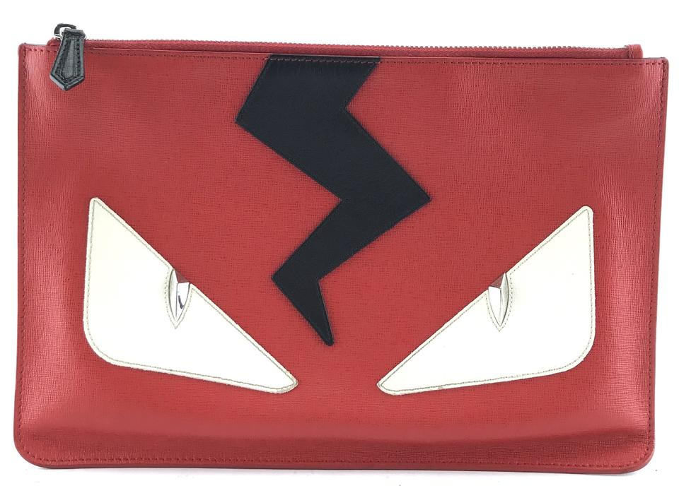 Fendi Monster Face Bolt Red Leather