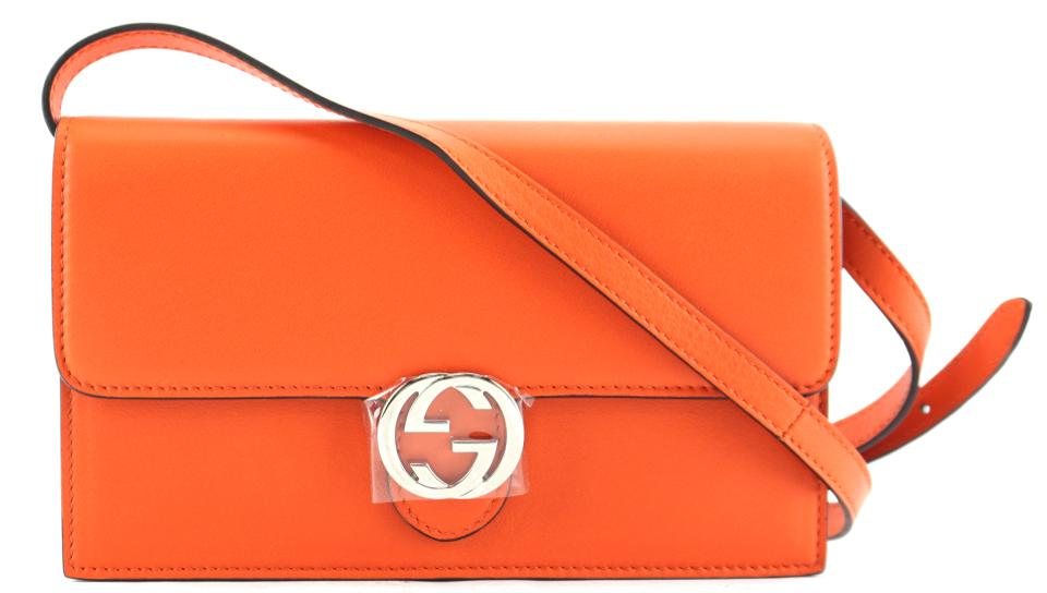 Gucci Icon Wallet On Strap Orange Leather