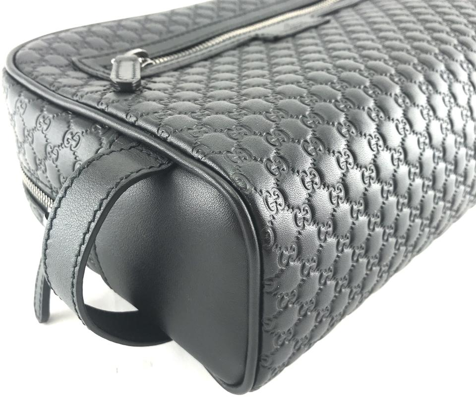 Black Leather Gg Guccissima Logo Clutch