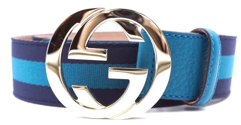 e190b50e003 Gucci Navy and Turquoise Stripe Gg Logo Gold Buckle Size 90 36 Belt ...