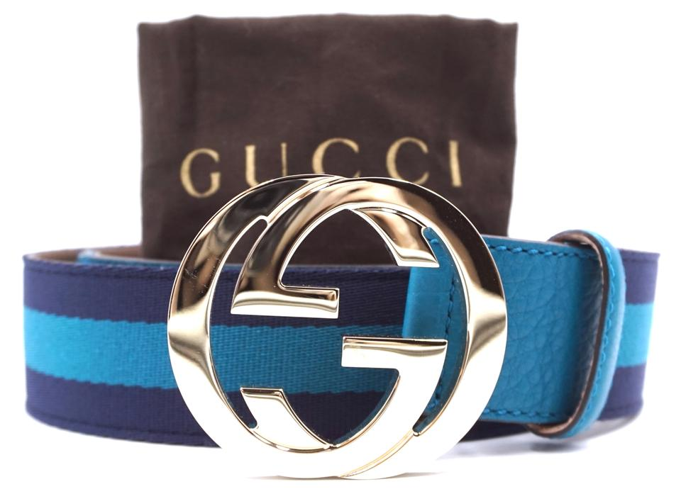 f08753bf3 Authentic Gucci Navy Stripe Gold Buckle Size 90/36 Belt - Luxcellent ...