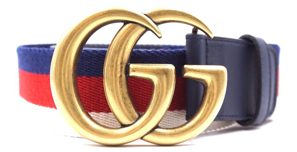 Marmont Gg Logo Stripe Gold Buckle Size 70/28 Belt