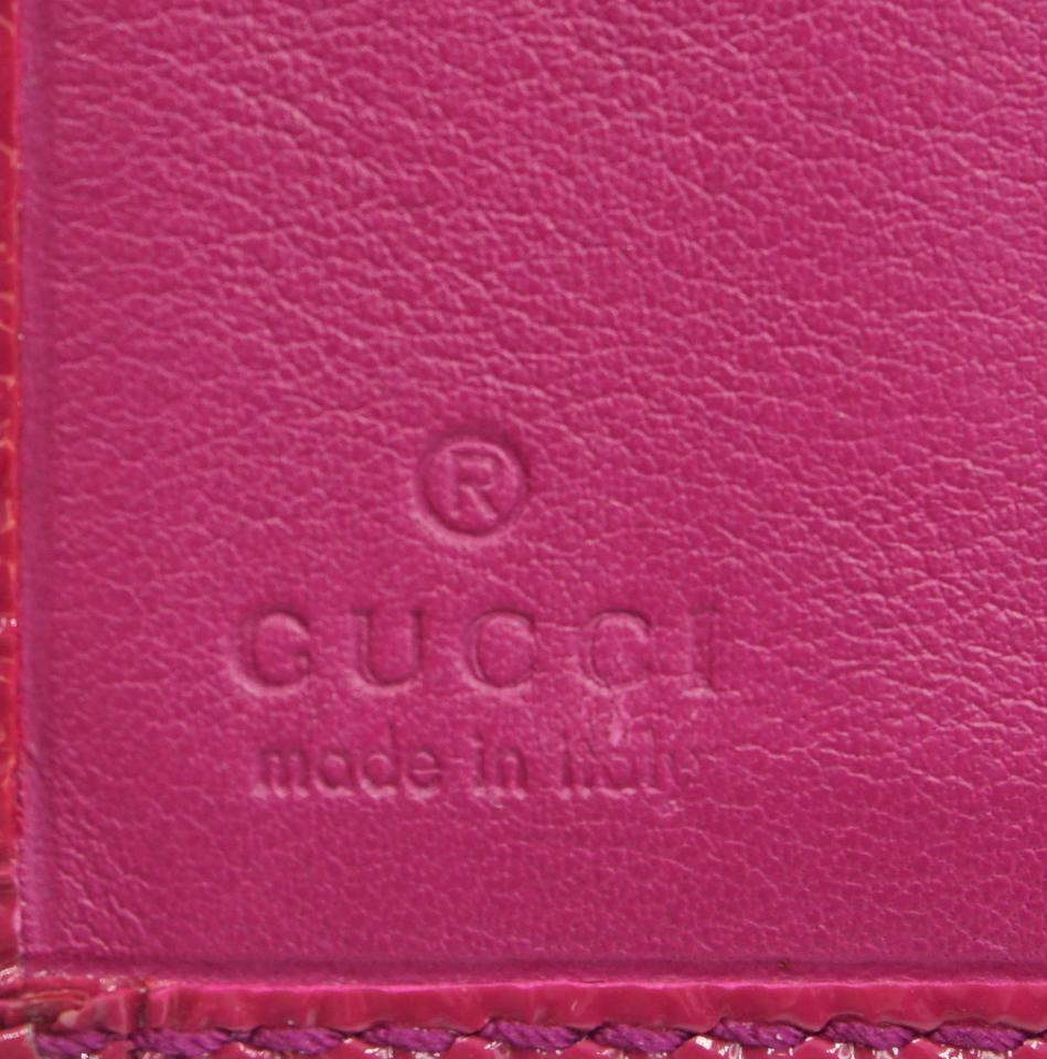 Gucci Soho GG Logo Trifold Patent Leather Wallet