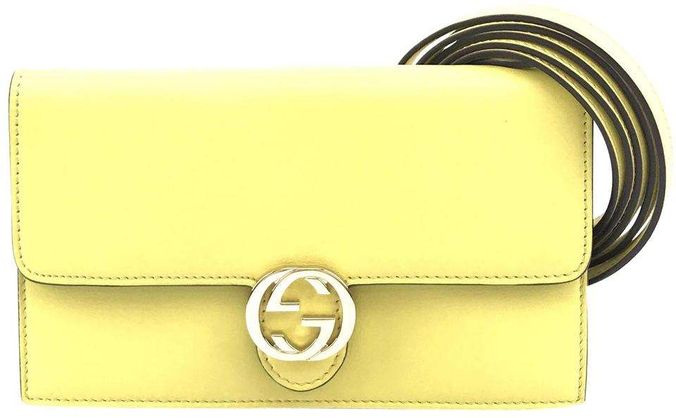 Gucci Icon Wallet On Strap Yellow Leather