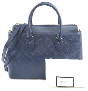 Gucci Briefcase Tote Blue Leather