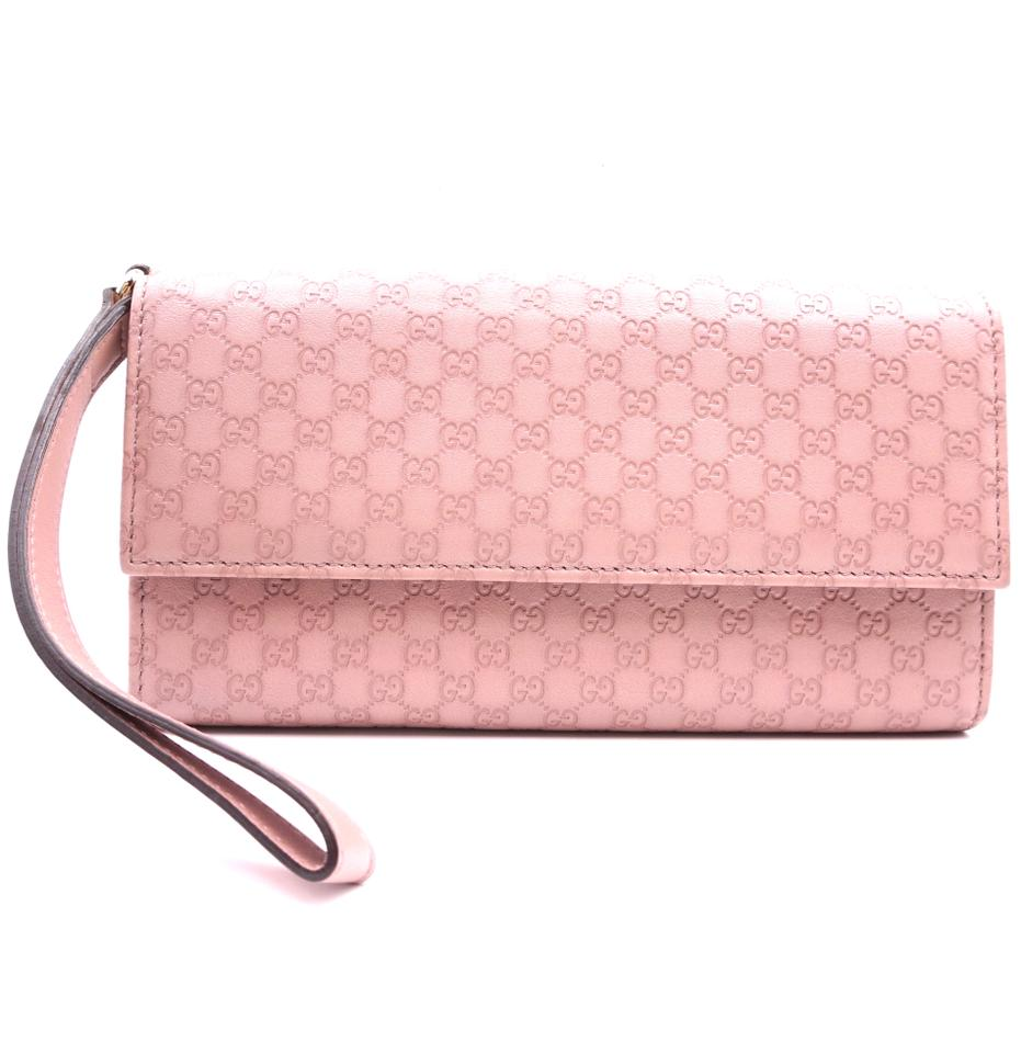 Gucci Pink Long With Inserts GG Flap Wristlet Wallet
