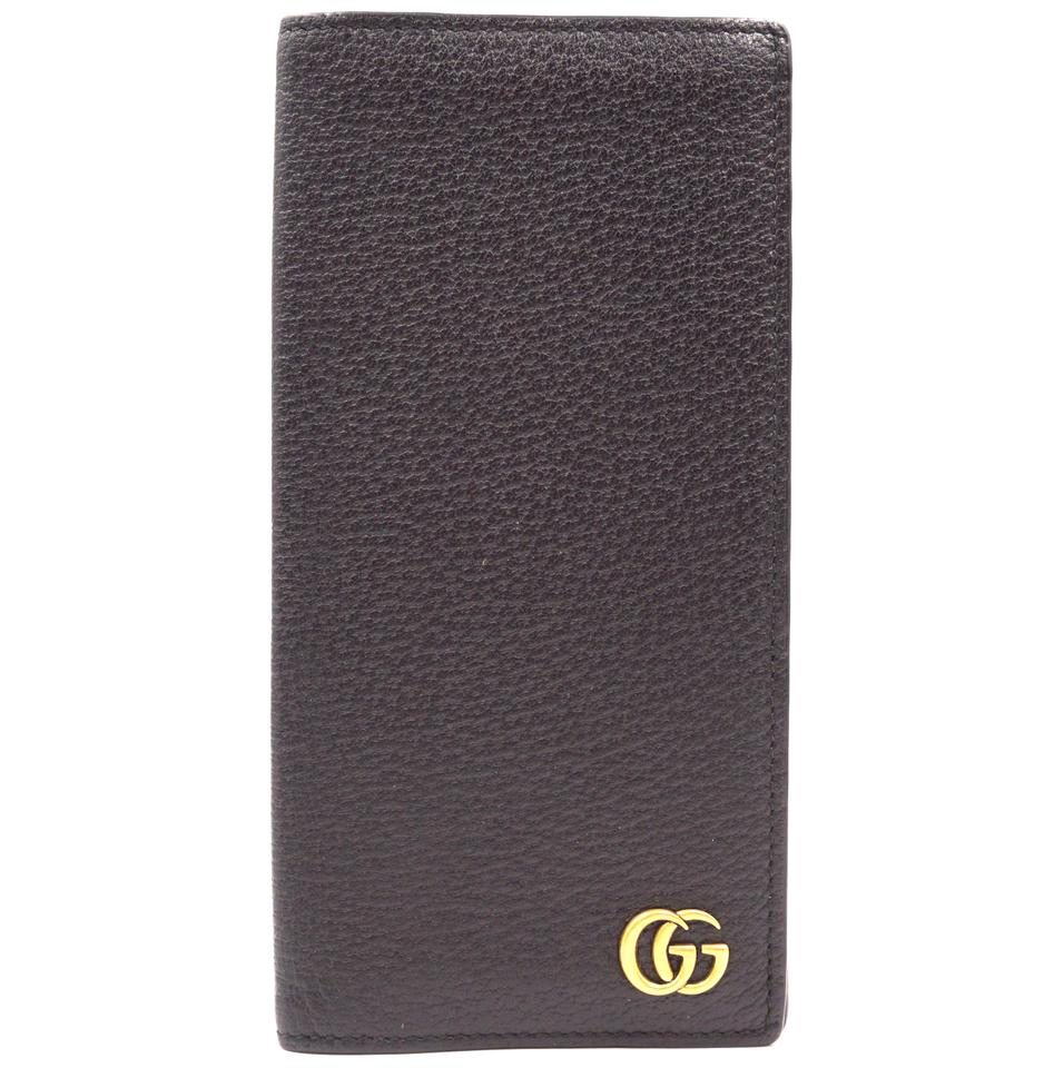 Gucci Black Marmont GG Bifold Checkbook Wallet