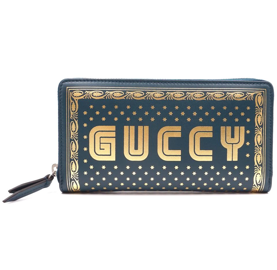 Gucci GUCCY Logo Printed Continental Leather Zip Around Wallet