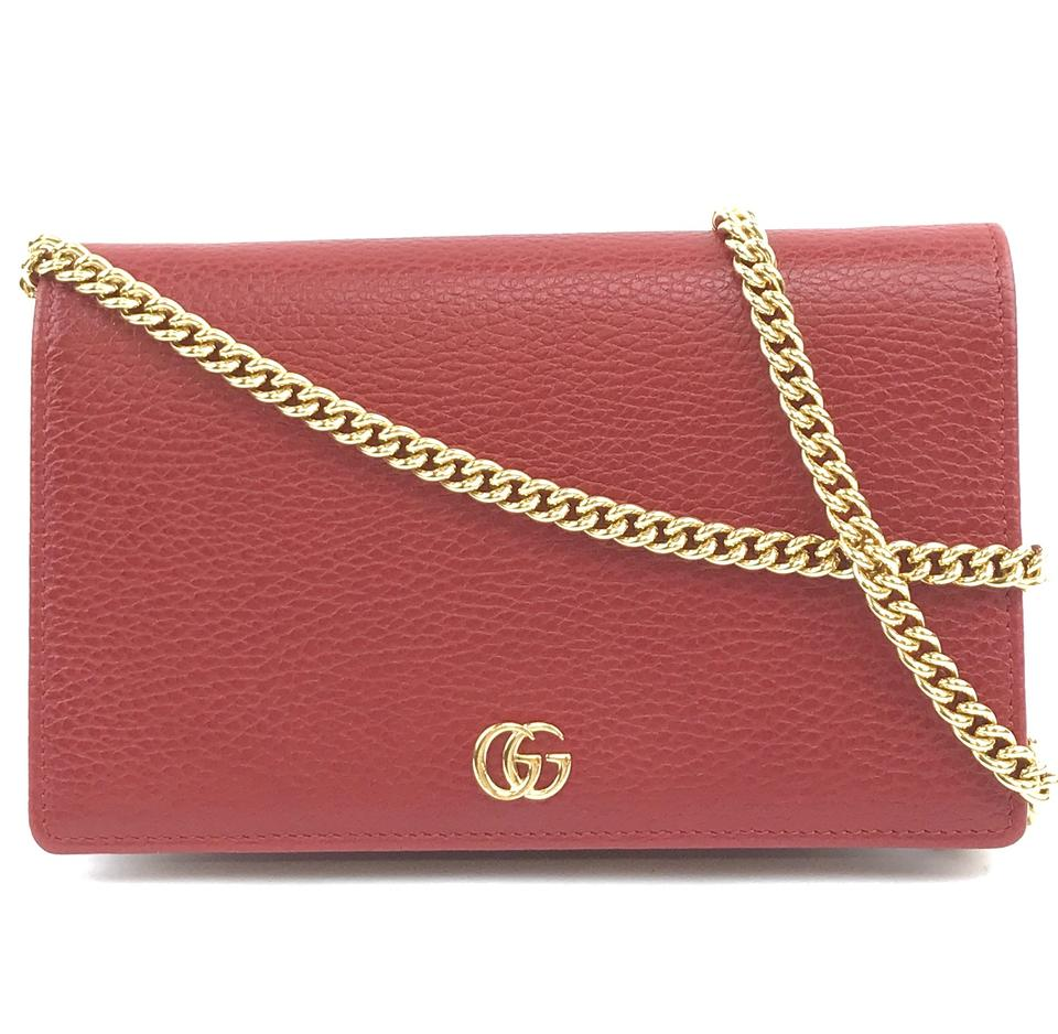 Gucci Marmont Chain Wallet Red Leather