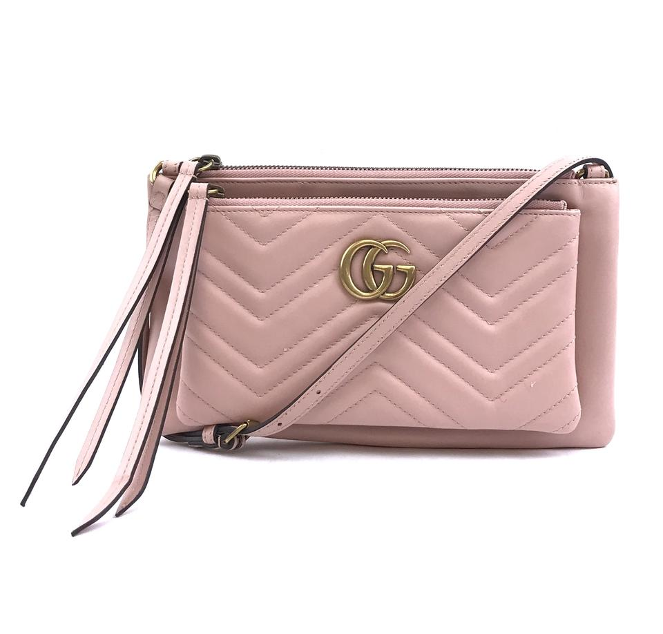 f511788a49c62a Authentic Gucci Marmont Pochette Pink Leather - Luxcellent – LUXCELLENT