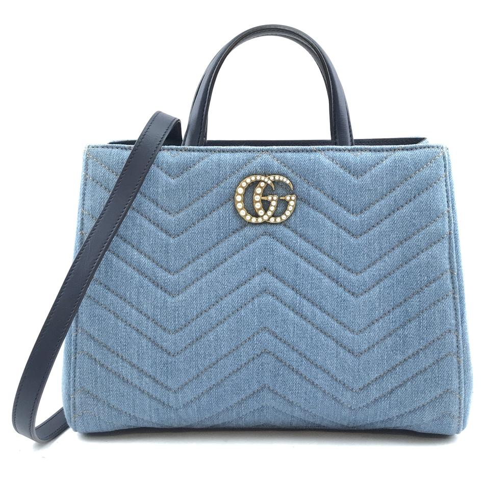 Gucci Marmont GG Pearls Matelasse Blue Denim