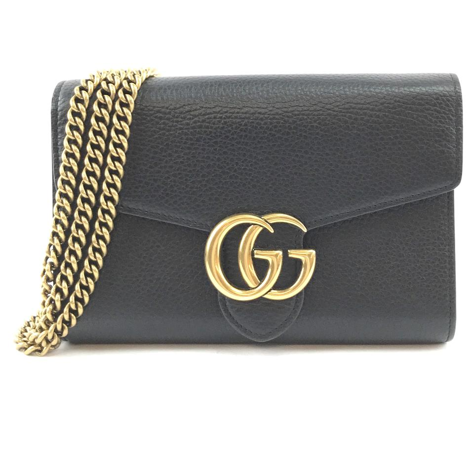 Gucci Marmont GG Compact Chain Wallet Black Leather