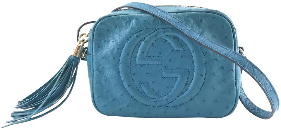 Soho Gg Logo Blue Ostrich Leather