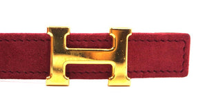 Hermes Doblis Suede Hot Pink On Natural Gold H Reversible Belt