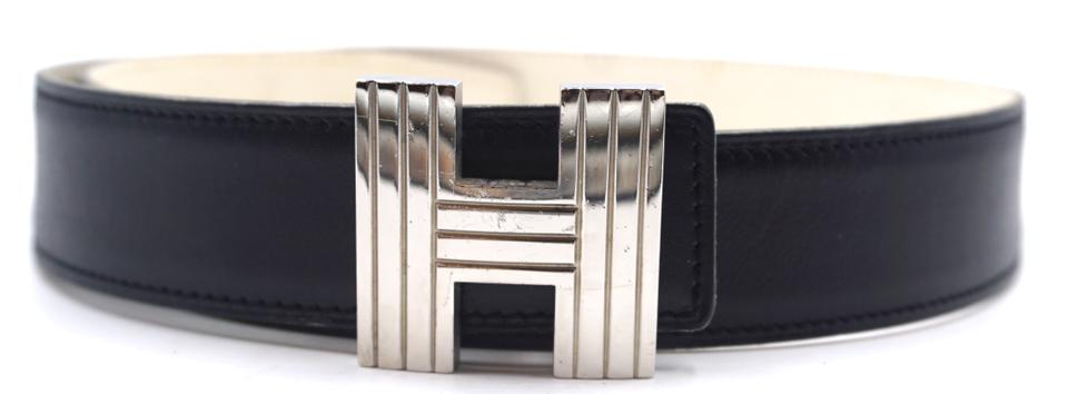 Kelly 32mm Silver Cadena H Size 70 Reversible Leather Belt