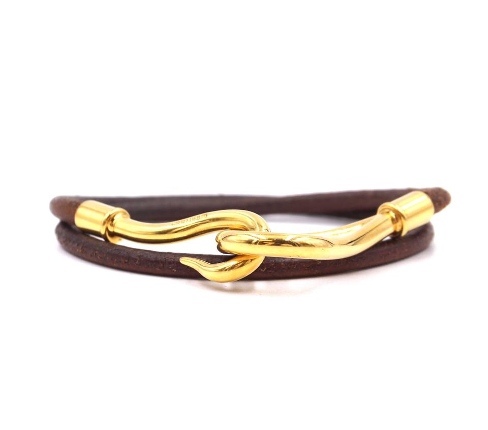 Hermes Double Tour Hook Leather Bracelet