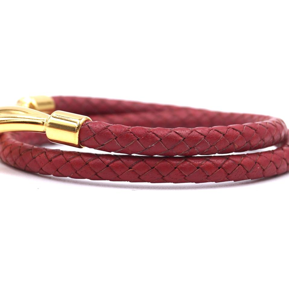 Hermes Double Tour Hook Wove Leather Bracelet