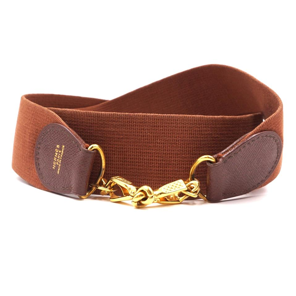 Hermès Brown Canvas Wide Shoulder Strap