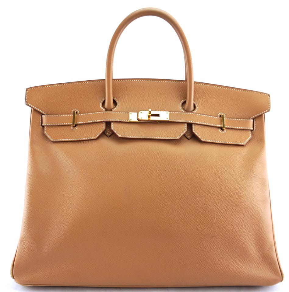 Gold Leather Birkin 40 Satchel