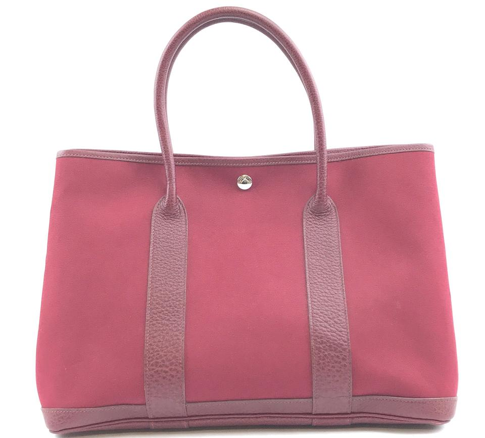 Hermès Toile Garden Party 36 GM Burgundy Leather