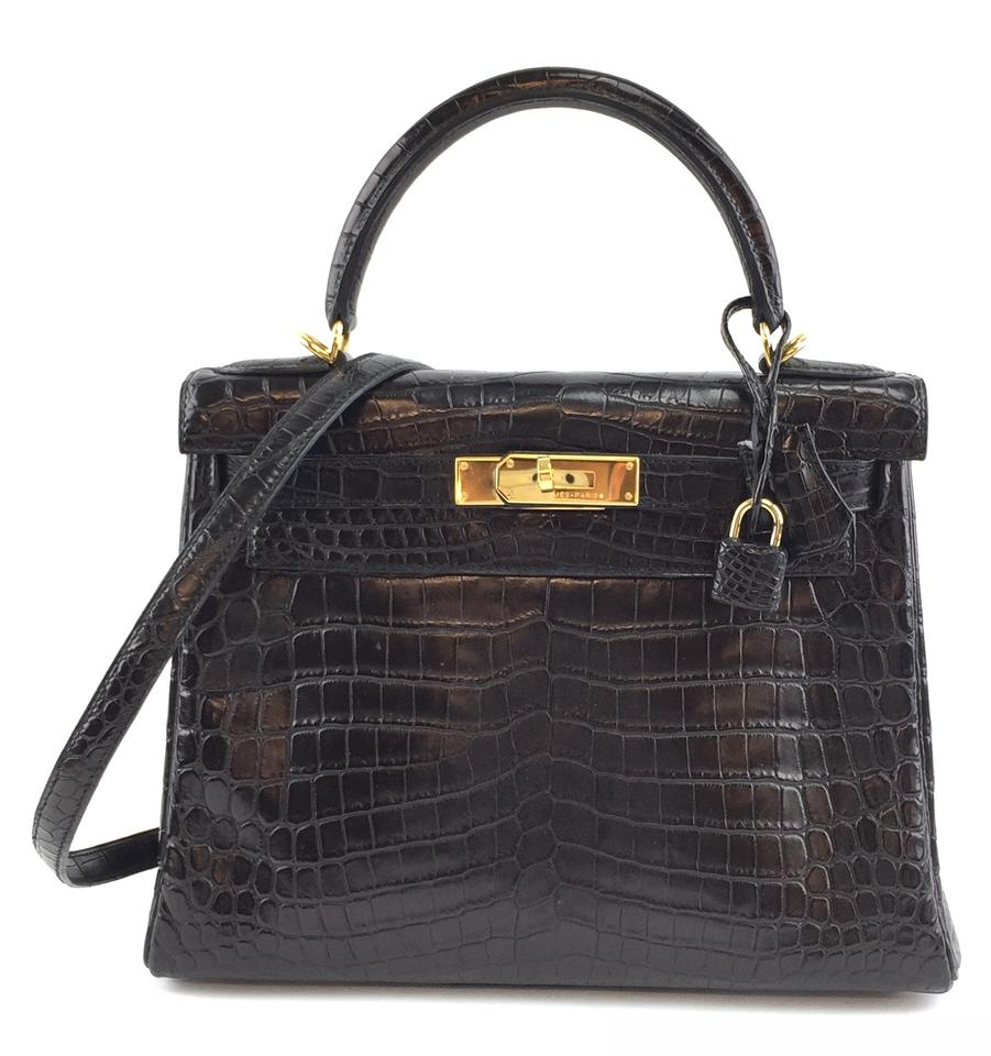 Hermès Kelly 28 Black Matte Crocodile Skin Leather