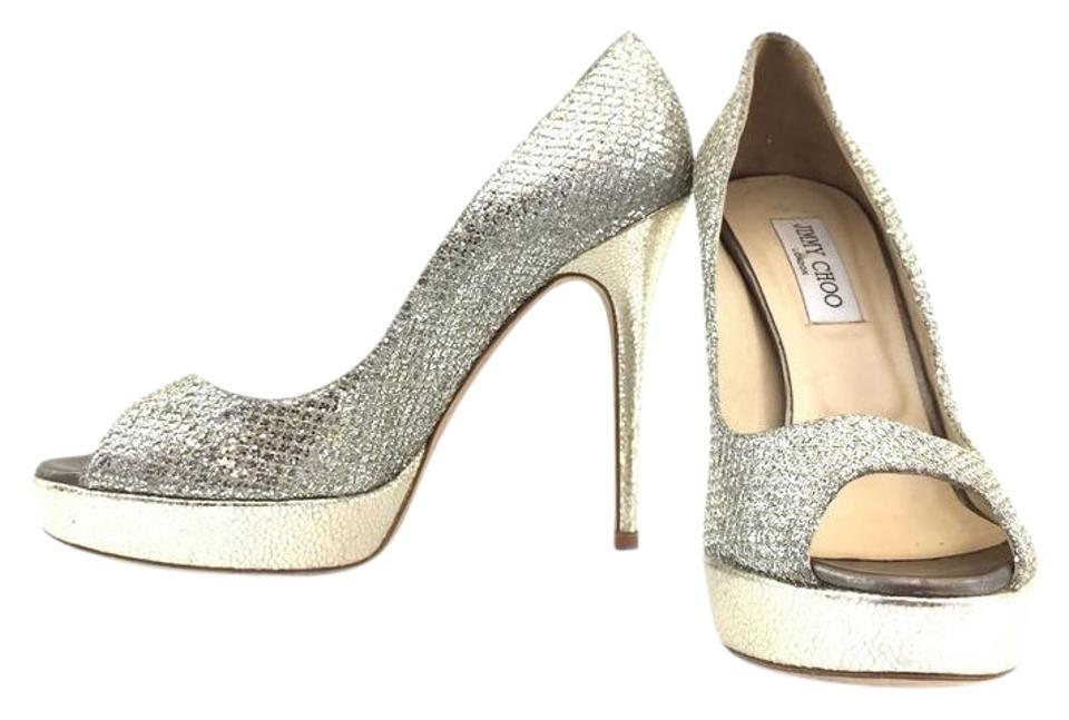 Jimmy Choo Silver Python Skin Leather Pumps