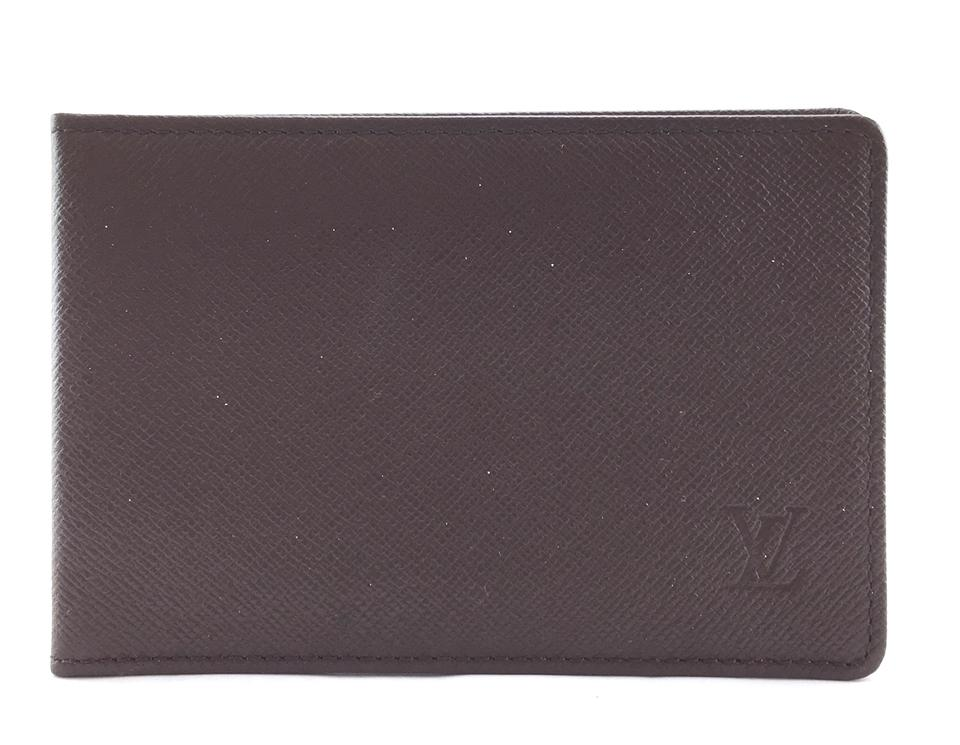 Brown Taiga Leather Monogram Card Wallet