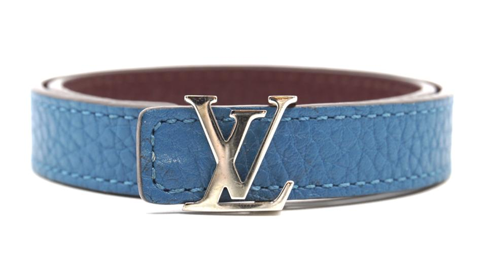 Louis Vuitton Silver Lv Logo Hardware Double Tour Bracelet
