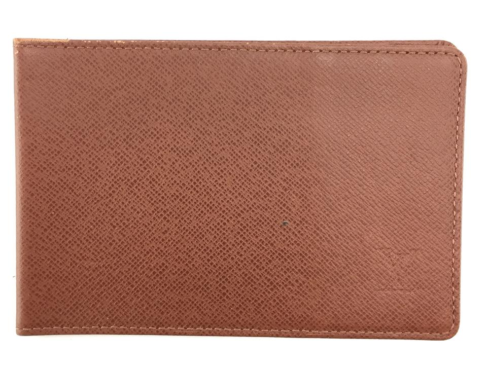 Brown Taiga Leather Bifold Card Wallet
