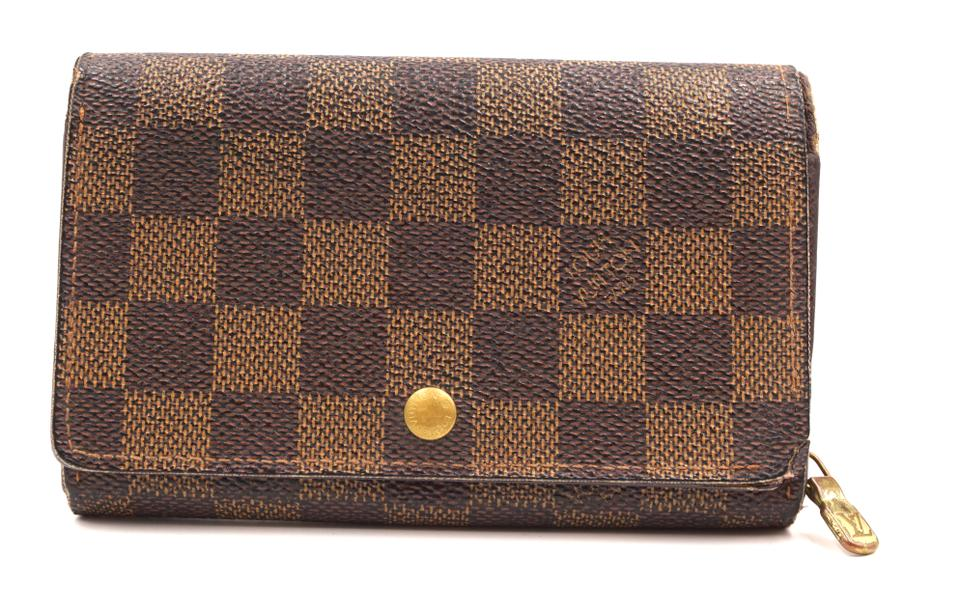 Damier Ebene Short Flap Zip Around Wallet