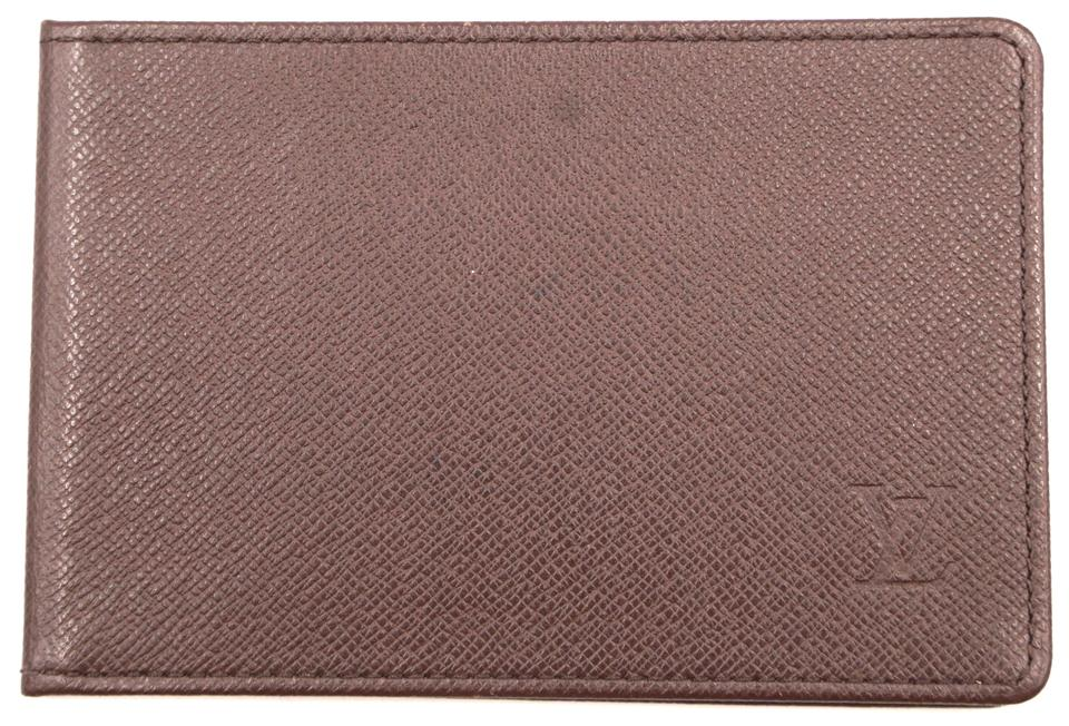Taiga Leather Bifold Monogram Card Wallet