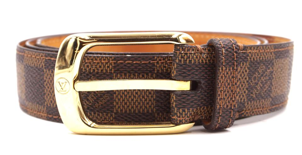 934d45b74251 Louis Vuitton Damier Ebene Gold Buckle Leather Size 100 40 Belt ...