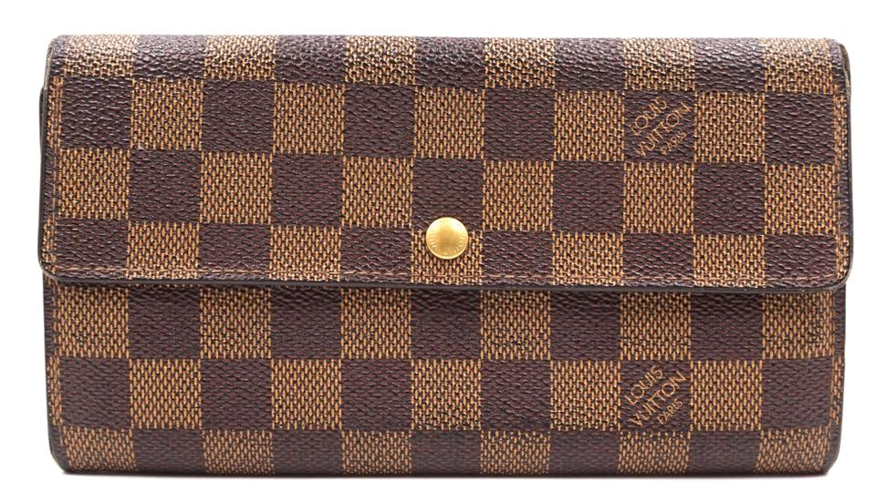 Damier Ebene Sarah Long Flap Pocket Zipper Wallet