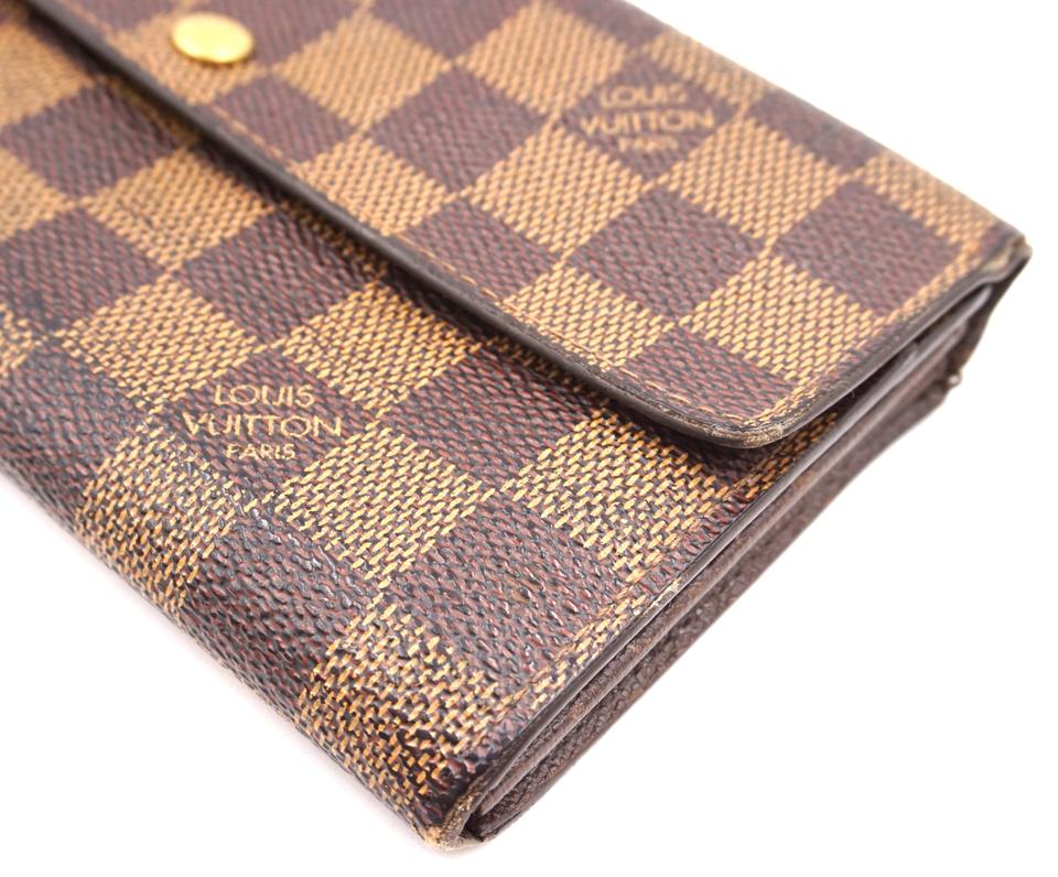 Louis Vuitton Damier Ebene Sarah Long Flap Pocket Zipper Wallet