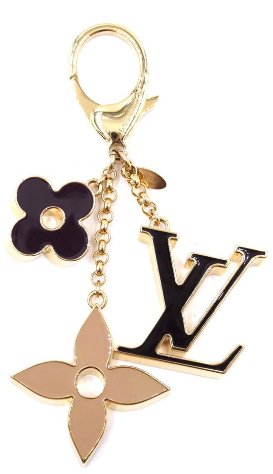 Monogram Enamel Plated Key Ring Chain Charm