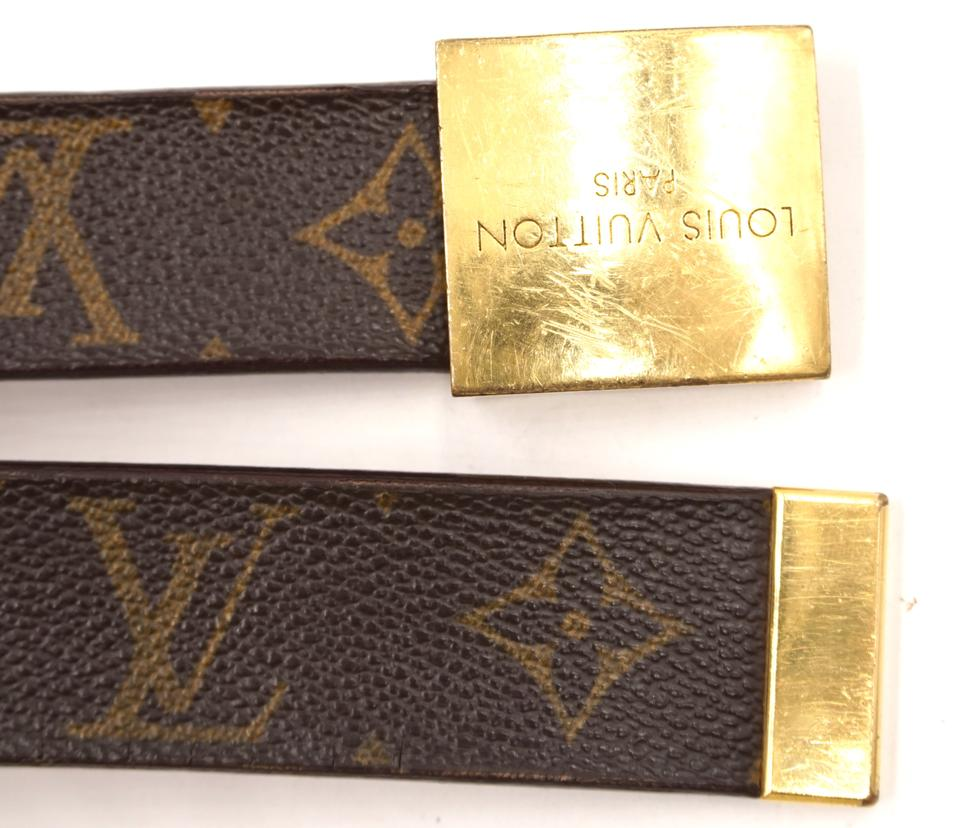 Louis Vuitton Monogram Gold Buckle Leather Size 100/40 Belt